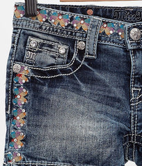 Miss Me Girls Butterfly Embroidered Short