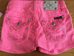 Miss Me Girls Neon Pink Leaf Shorts