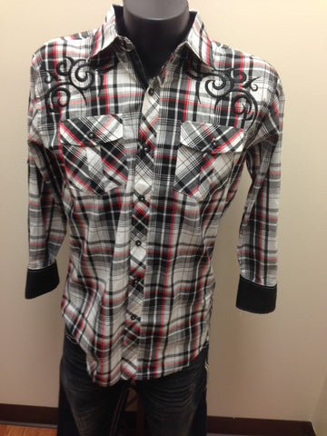 Victorious Black, Red & White Plaid Shirt