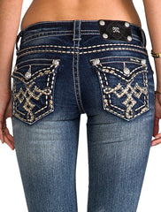 Miss Me Dark Wash with Gold Diamond Cross Flap Pocket