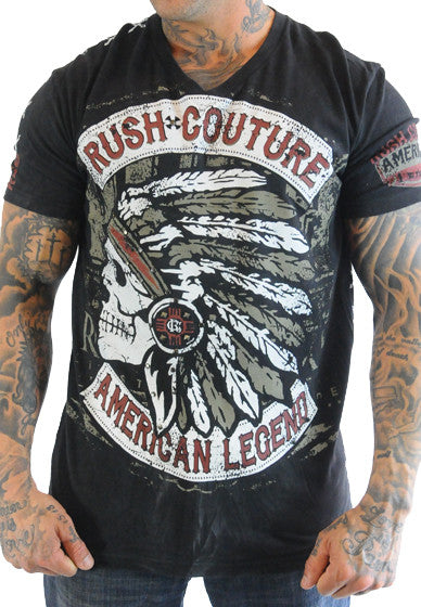 Rush Couture American Indian Black T-Shirt