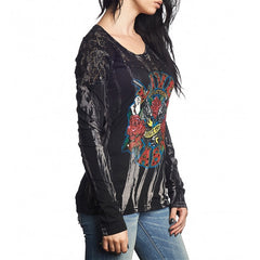 Affliction Love Gun L/S Panel Tee Womens