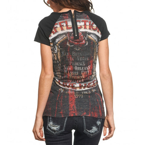 Affliction Hollow Point S/S Raglan Top Womens