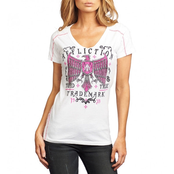 Affliction Tried Fate S/S VNeck Tee Womens