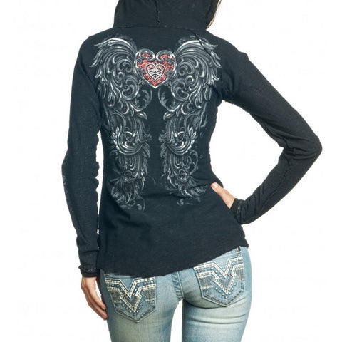 Sinful Eloise L/S Button Down Slub Hood