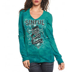 Sinful Eloise Raw Edge L/S V-Neck