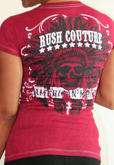 Rush Couture Womens Indian V-Neck T-Shirt Red