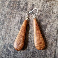 Load image into Gallery viewer, Irish Whiskey Barrel Tear Drop Earrings from Whiskey Woodcraft