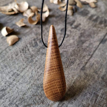 Load image into Gallery viewer, Irish Whiskey Barrel Teardrop Pendant Necklace from Whiskey Woodcraft
