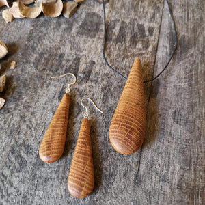 Necklace and Earrings Set from Whiskey Woodcraft