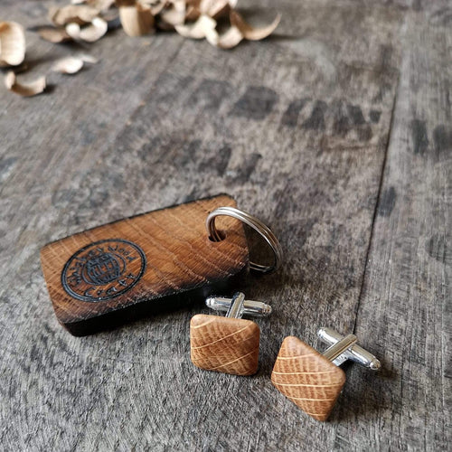 Irish Whiskey Barrel Wooden Cufflinks with Keyring from Whiskey Woodcraft