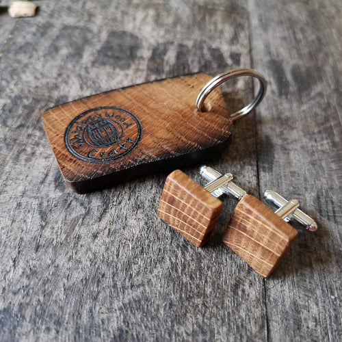 Square Irish Whiskey Barrel Wooden Cufflinks with Keyring from Whiskey Woodcraft