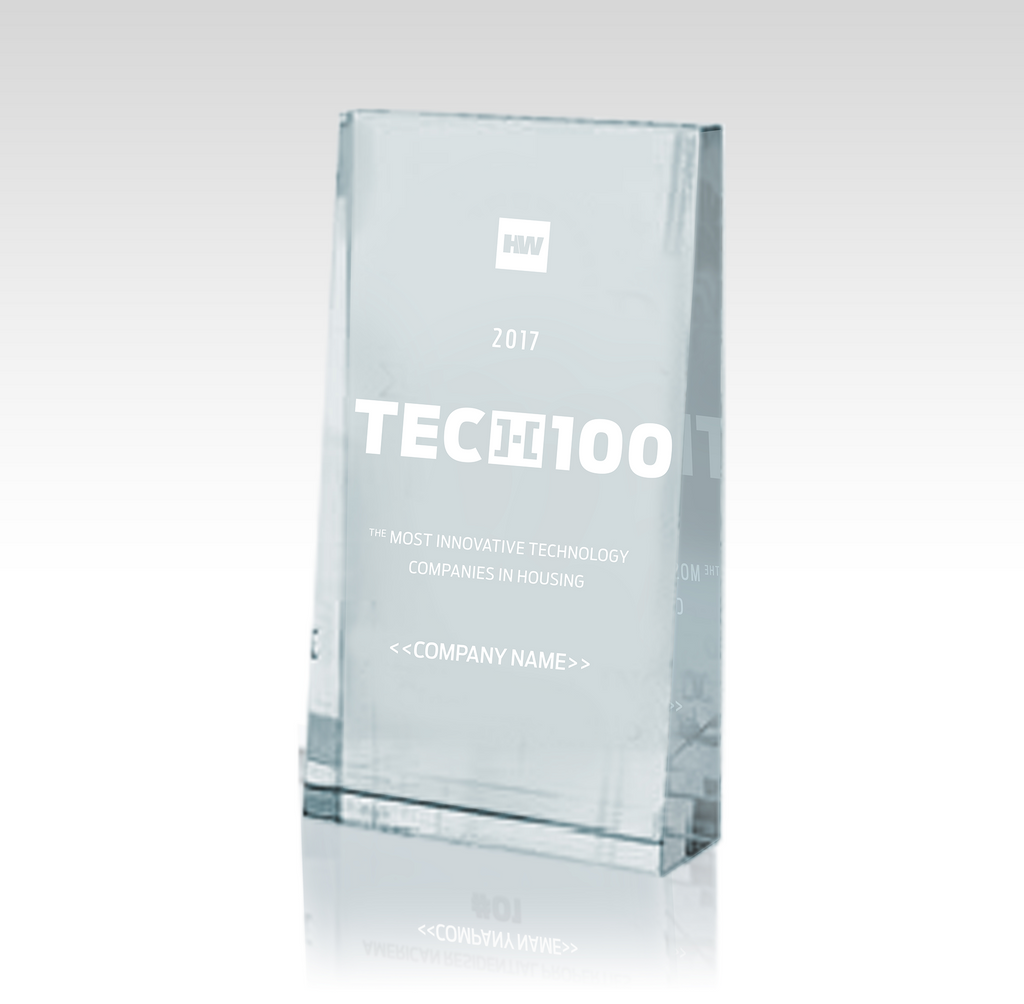 2017 HW TECH100 Executive Crystal Desk Trophy