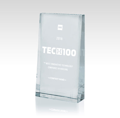 2016 HW TECH100 Executive Crystal Desk Trophy