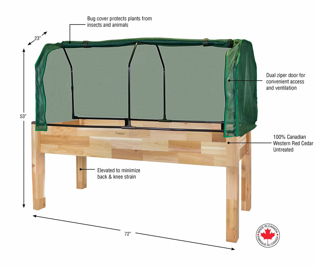 "Cedar Planter (23"" x 72"" x 30""H) + Greenhouse & Bug Cover"