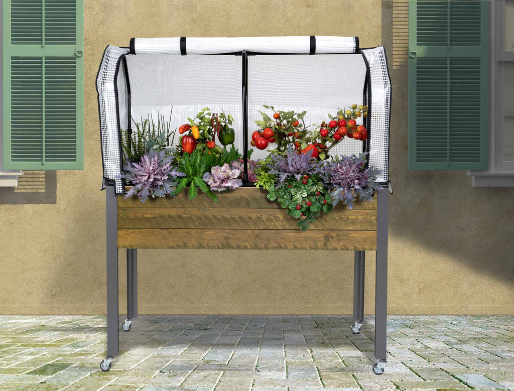 "Elevated Spruce Planter (21"" x 47"" x 32""H)+ Greenhouse Cover & Casters - Brown"