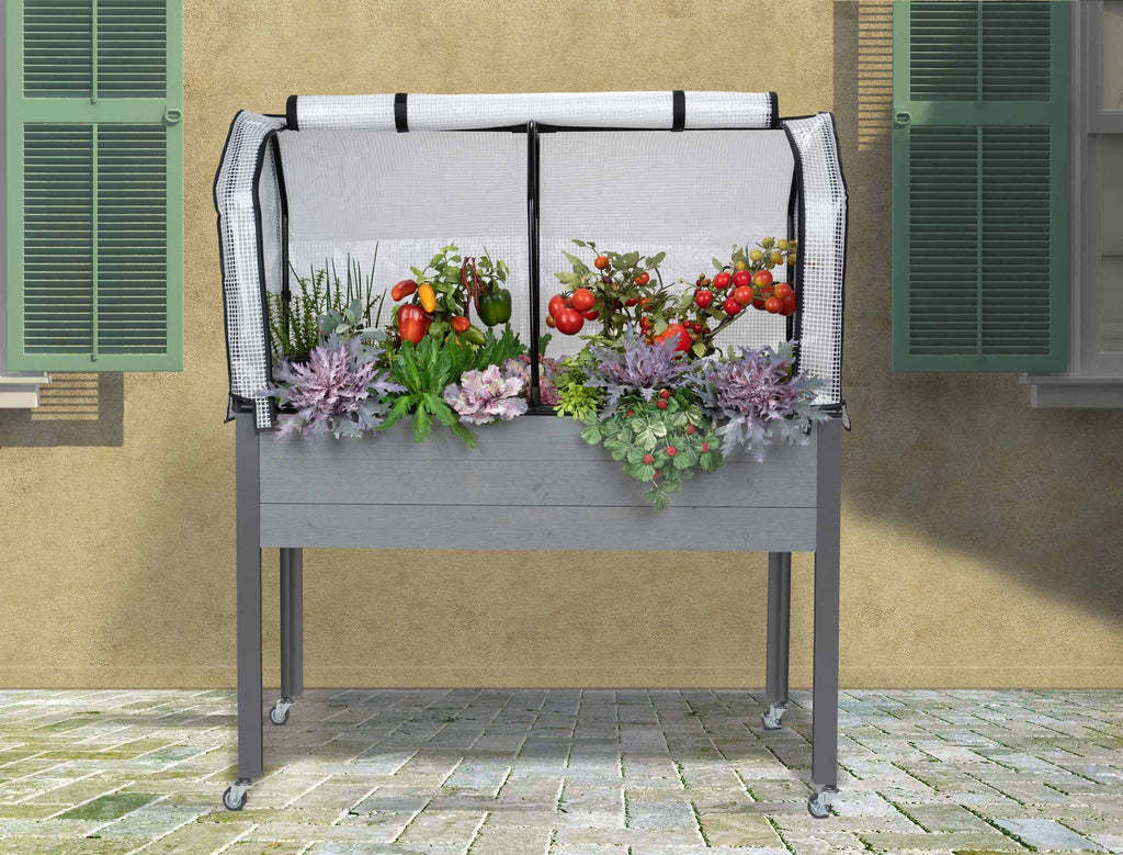 "Self-Watering Elevated Spruce Planter (21"" x 47"" x 32""H) + Greenhouse Cover & Casters - Gray"