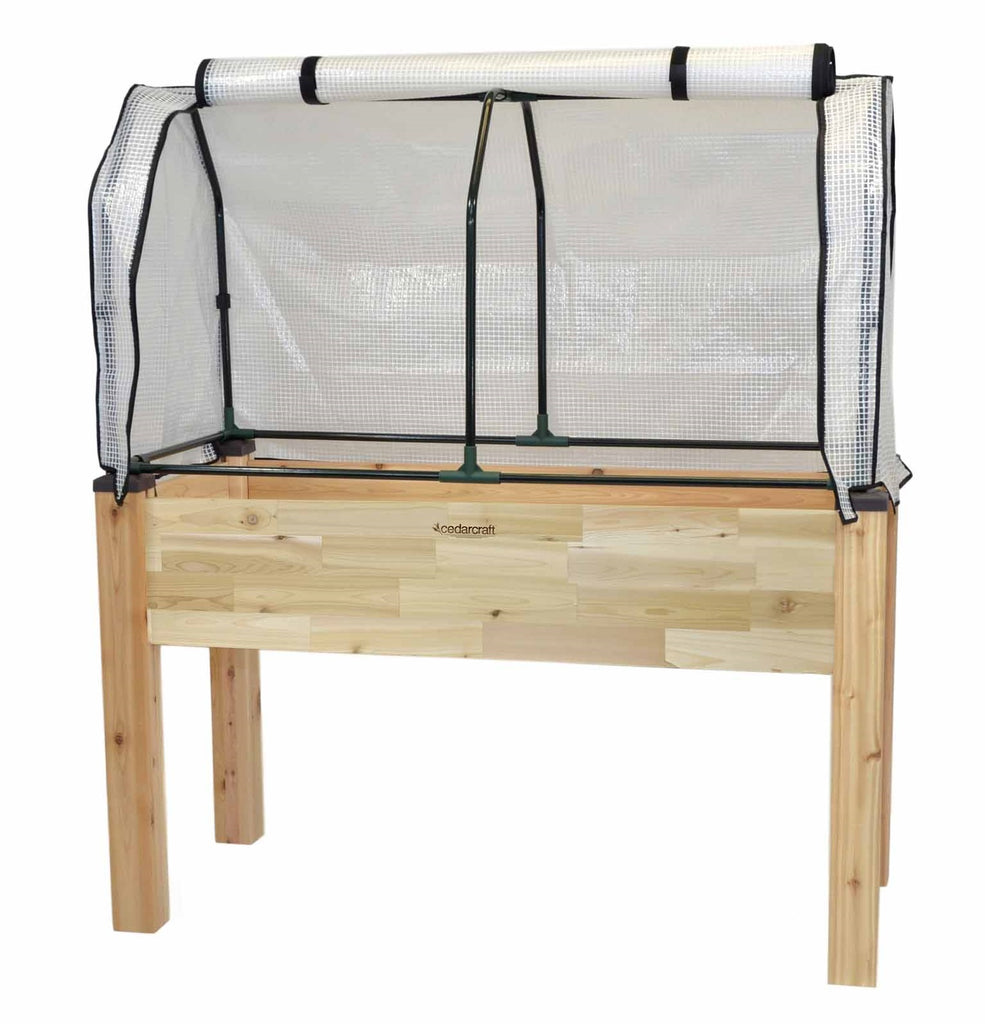 "Elevated Cedar Planter (23"" x 49"" x 30""H) + Greenhouse Cover"
