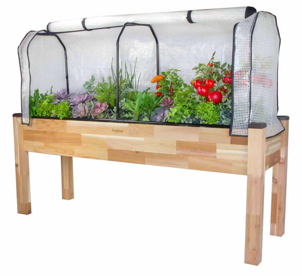 "Cedar Planter (23"" x 72"" x 30""H) + Greenhouse Cover"