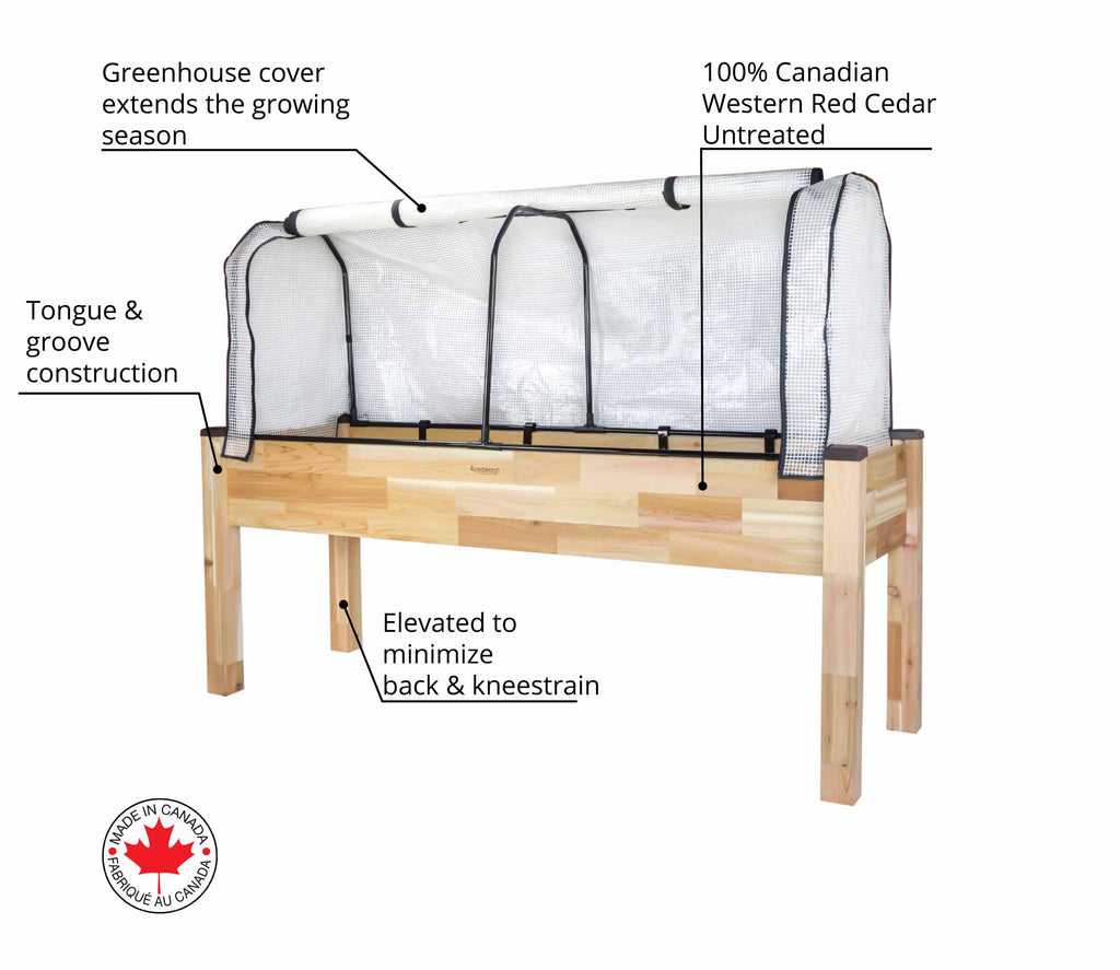 "Elevated Cedar Planter (23"" x 72"" x 30""H) + Greenhouse Cover"