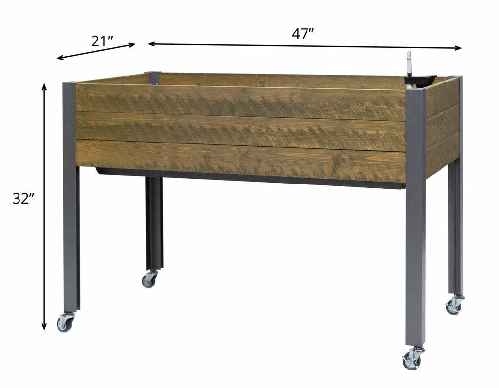 "Self-Watering Elevated Spruce Planter (21"" x 47"" x 32""H) + Casters - Brown"