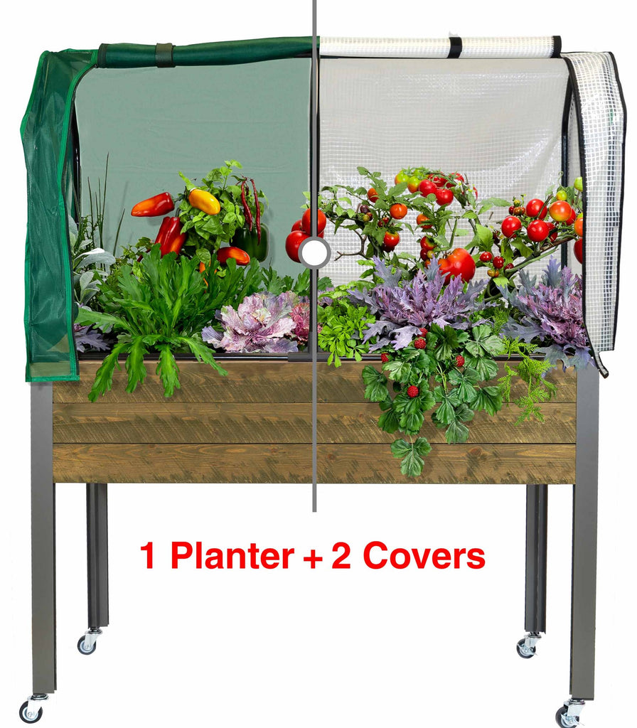 "Self-Watering Spruce Planter (21 x 47 x 32""H) + Greenhouse & Bug Cover"