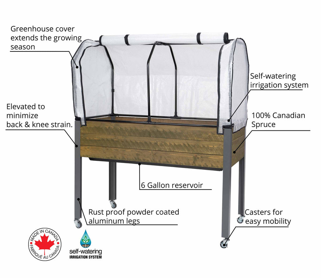 "Self-Watering Elevated Spruce Planter (21"" x 47"" x 32""H) + Greenhouse Cover & Casters - Brown"