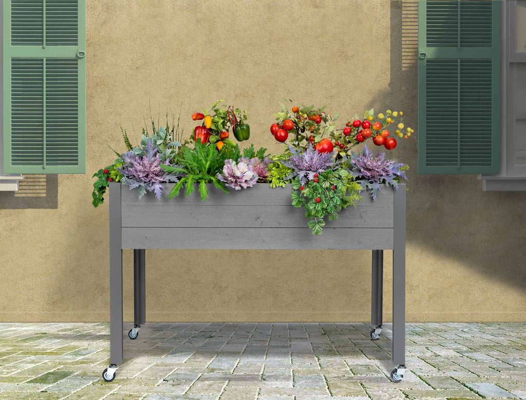 "Self-Watering Elevated Spruce Planter (21"" x 47"" x 32""H) + Casters - Gray"