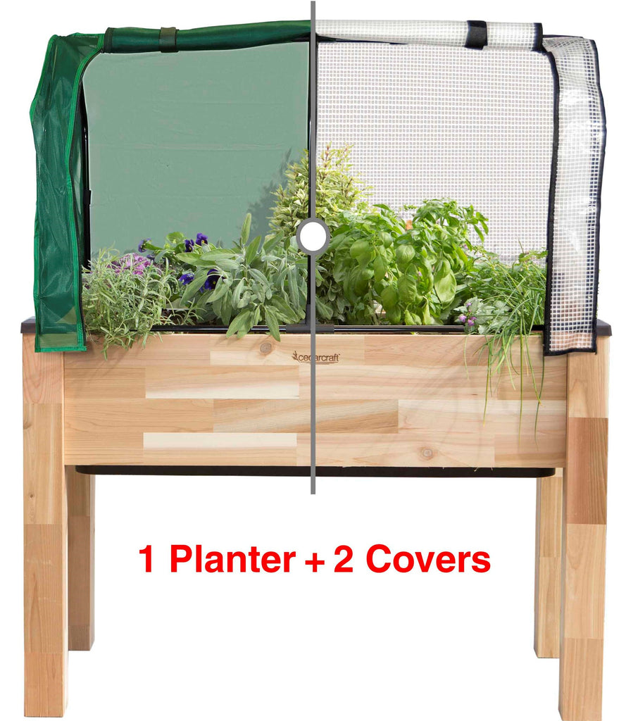 "Self-Watering Cedar Planter (23"" x 49"" x 30""H) + Greenhouse & Bug Cover"