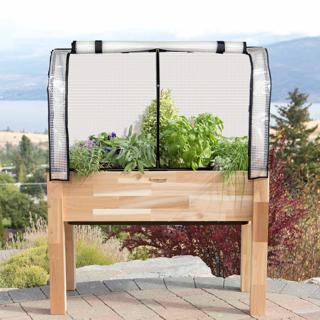 "Self-Watering Elevated Cedar Planter (23"" x 49"" x 30""H) + Greenhouse & Bug Cover"