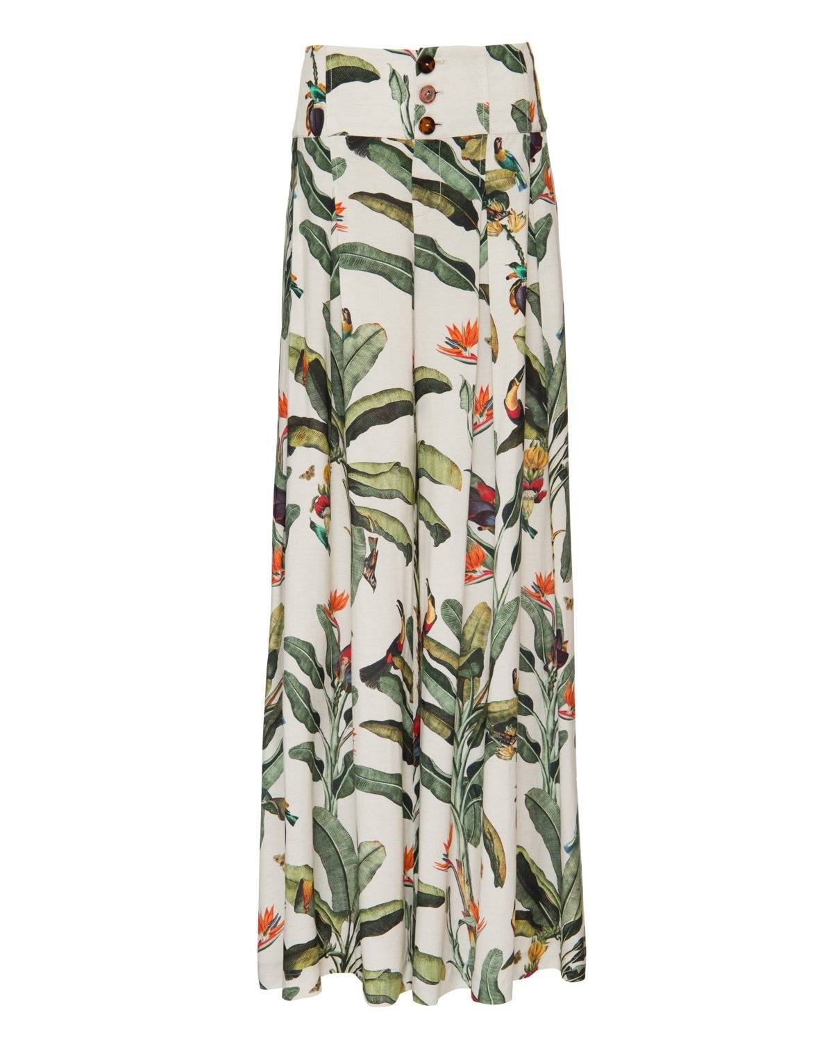 TROPICAL PRINT WIDE LEG PANT