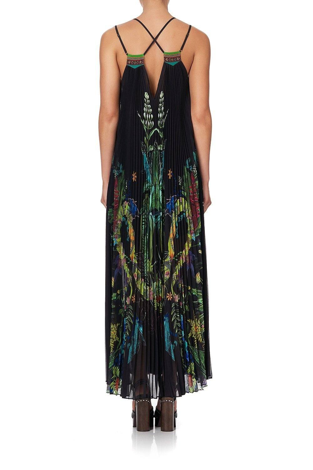 PLEATED MAXI DRESS WITH YOKE