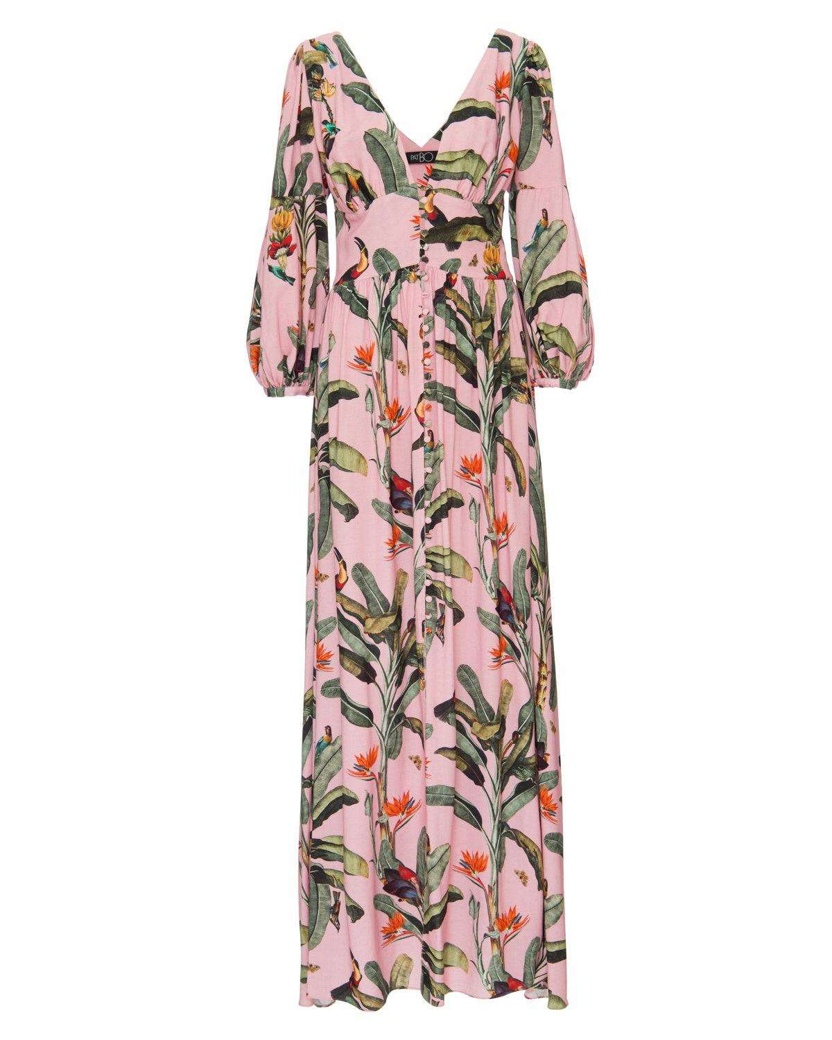 TROPICAL PRINT BUTTON FRONT MAXI DRESS