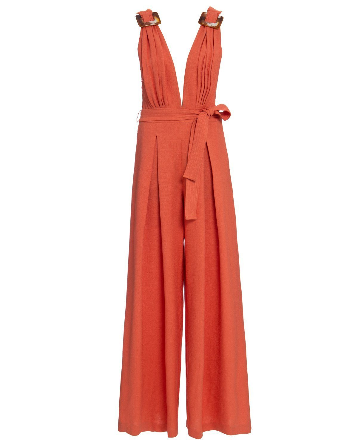 BUCKLED DEEP-V JUMPSUIT