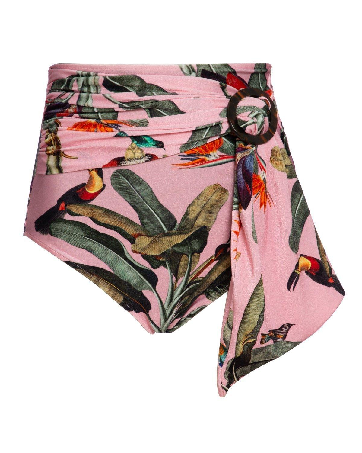 TROPICAL PRINT BELTED BIKINI BOTTOMS