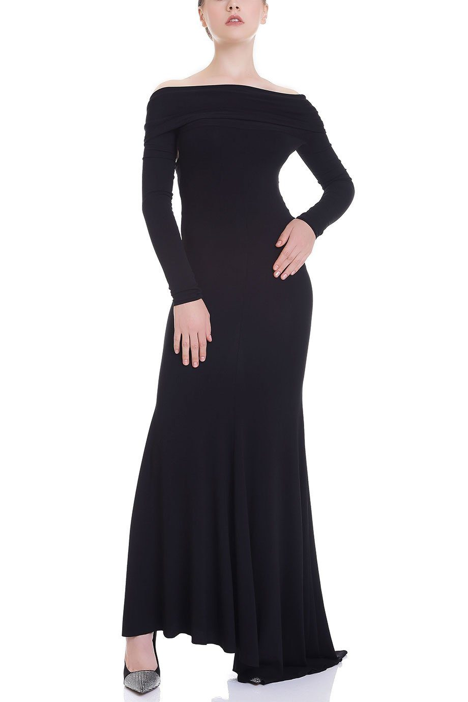 BLACK OFF SHOULDER LONG DRESS
