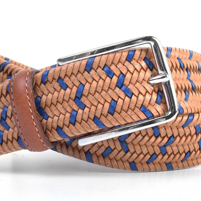 LEXINGTON BRAIDED ITALIAN SADDLE LEATHER STRETCH BELT
