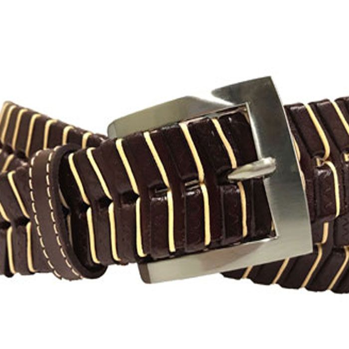 LANDON HAND LACED SADDLE LEATHER BELT