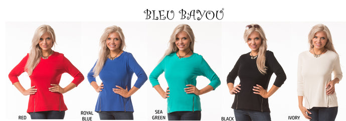 Side Zipper Cotton Top in 5 Colors - Mary Ann's Shoppe