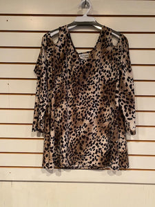 108-389 Open Shoulder Animal Print by All-Hours - Mary Ann's Shoppe