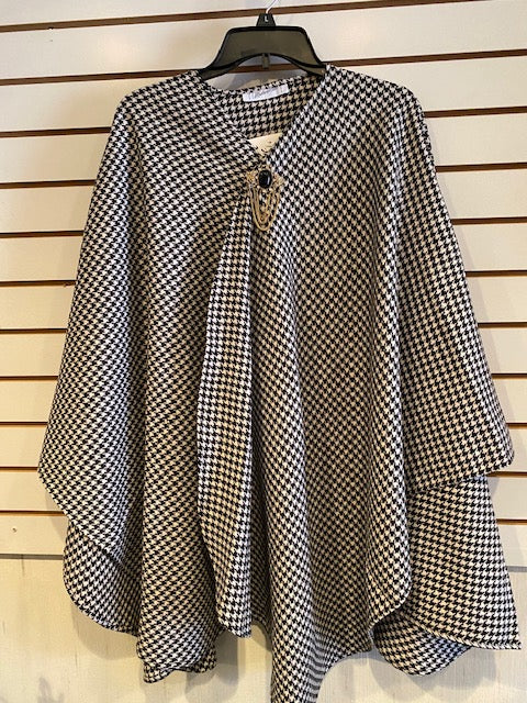 Black and White Houndstooth Cape by Mademoiselle - Mary Ann's Shoppe