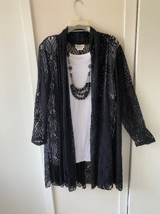 3 Piece Set: Crocheted Lace Duster, Tank Top and Necklace - Mary Ann's Shoppe