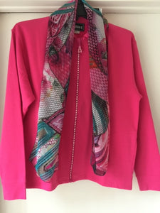 1601 Crystal Zipper Cardigan by Bleu Bayou S-M - Mary Ann's Shoppe