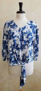 S2002 Floral Tie Blouse - Mary Ann's Shoppe