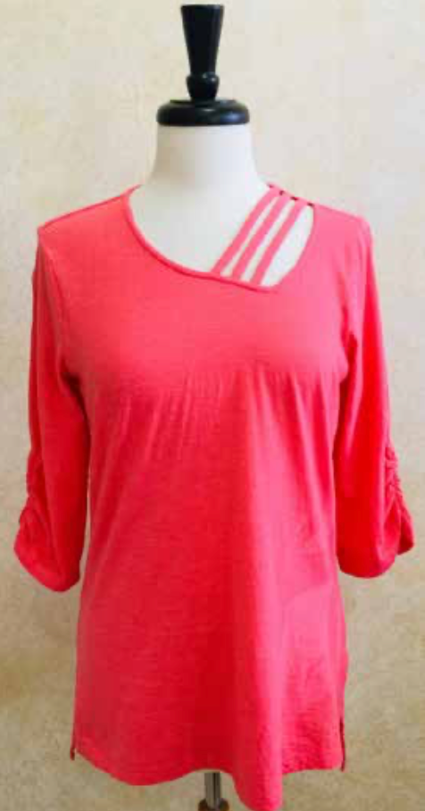S2039 Blouse in Coral - Mary Ann's Shoppe