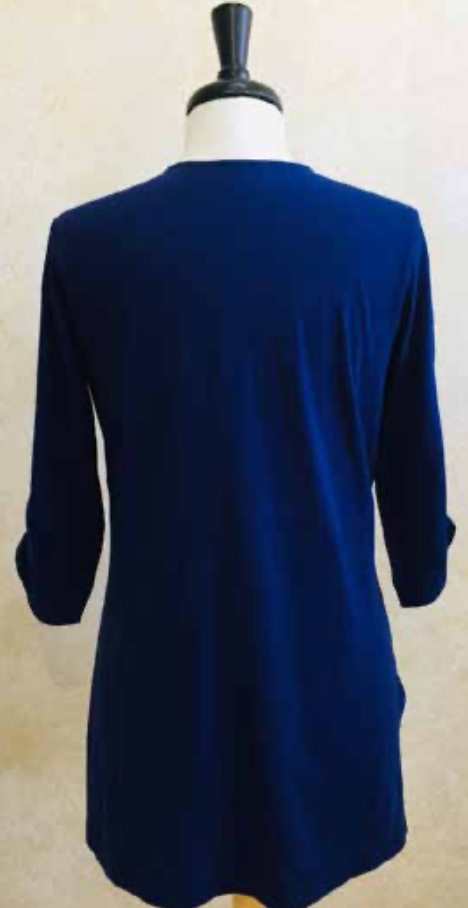 S2039 Blouse in Navy - Mary Ann's Shoppe