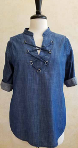 S2041 Denim Shirt with Tie Laces - Mary Ann's Shoppe