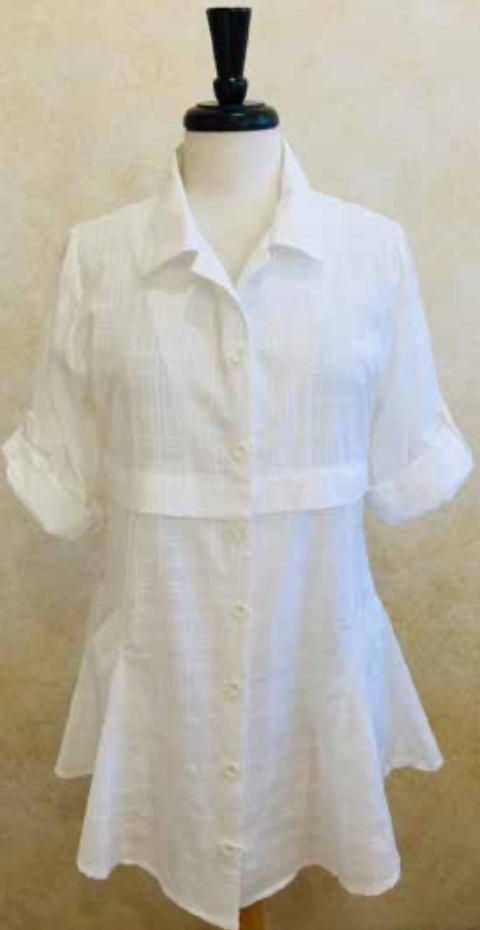 S2045 White Blouse with Flare - Mary Ann's Shoppe