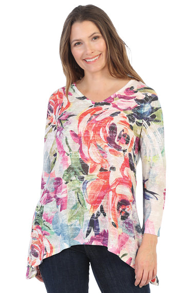 48-1403 Sonata Burnout Tunic Top - Mary Ann's Shoppe