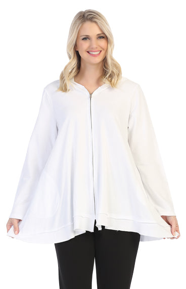 M44-WHT White Hoodie Jacket by Jess and Jane - Mary Ann's Shoppe